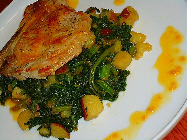 Pork Chops with Garlic Orange Reduction and Sautéed Mustard Greens with Potatoes (1/6)