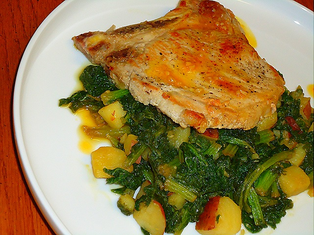Pork Chops with Garlic Orange Reduction and Sautéed Mustard Greens with Potatoes (4/6)